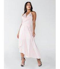 vestido longo frente única com alça de corrente