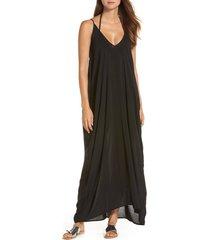 women's elan v-back cover-up maxi dress, size x-small - black