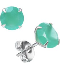 brinco joia em casa zircônia verde água leitosa redonda 6mm prata