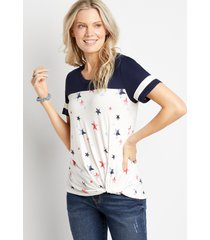 maurices womens 24/7 star knot front baseball tee