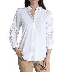 blusa mujer clara algodón orgánico blanco rockford