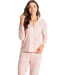 pijama longo abotoado estampado love