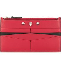 alexander mcqueen studded card holder - red