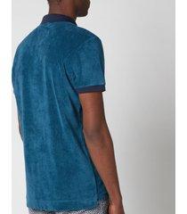 orlebar brown men's jarrett towelling contrast rib collar polo shirt - blue slate - xl
