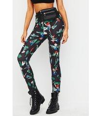 yoins leggings negros de cintura alta con estampado floral al azar