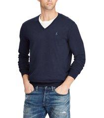 chaleco slim fit cotton v-neck azul polo ralph lauren