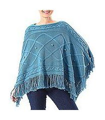 short cotton poncho, 'charming knit in cerulean' (thailand)