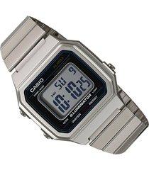 reloj casio retro b-650wd-1a digital unisex plateado original