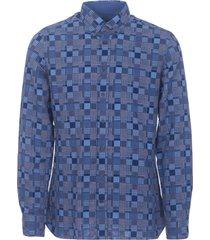 hackett london blue patchwork weave shirt 305835