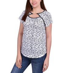 ny collection petite cap-sleeve dot-print top