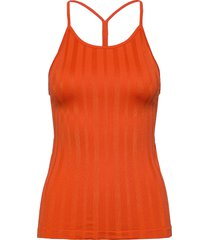 shiny matte seamless strap tank t-shirts & tops sleeveless orange casall