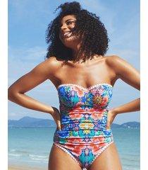frida floral underwire bandeau tummy control one-piece swimsuit b-g