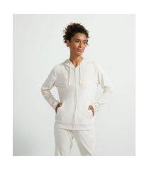 jaqueta básica esportiva plush com capuz e bolso canguru | get over | rosa | p