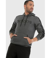 camiseta gris-negro adidas performance essentials 3 rayas
