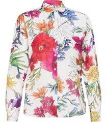 d2. humming floral co/silk shirt långärmad skjorta multi/mönstrad gant