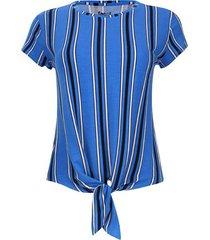 camiseta a rayas con nudo en frente color azul, talla 6