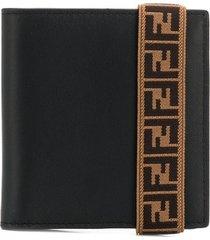 fendi ff elasticated strap wallet - black