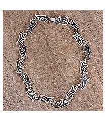 sterling silver link necklace, 'trumpets' (mexico)