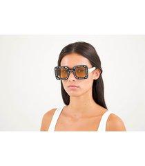 gucci women's square frame acetate sunglasses - black/ivory/yellow