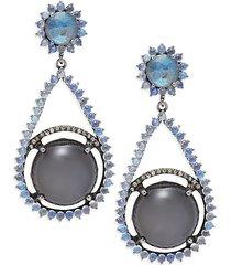 black rhodium-plated sterling silver, moonstone & diamond drop earrings