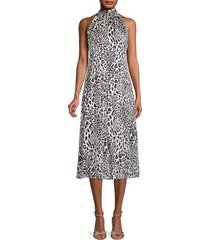 milly women's adrian leopard-print burnout dress - grey - size 4
