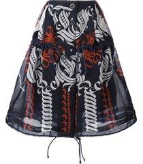 sacai calligraphy print drawstring skirt - blue