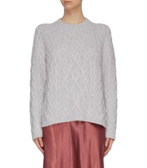 crew neck cable knit cashmere sweater