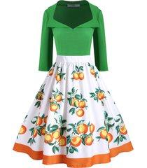 contrast orange print side zipper plus size dress