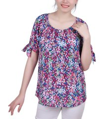 ny collection petite printed tie-sleeve top