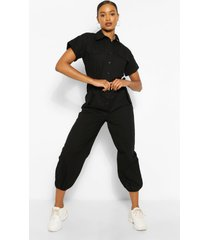 geweven jumpsuit met ceintuur en omgeslagen mouwen, zwart
