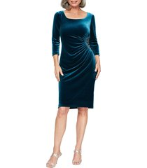 women's alex evenings side ruched velvet cocktail dress