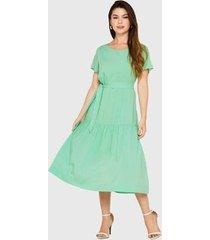 vestido longuete barra recortes franzidos miss joy 6761 feminino - feminino