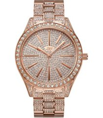 jbw women's cristal diamond (1/8 ct.t.w.) 18k rose gold plated stainless steel watch