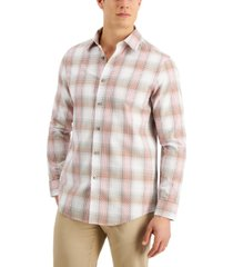 tasso elba men's fierto dobby plaid shirt, created for macy's