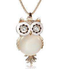 collana di pietra preziosa del rhinestone di cristallo opale di owl