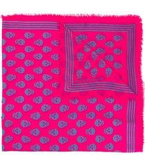 alexander mcqueen skull-motif fringed scarf - pink