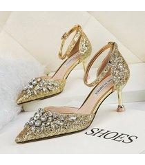 mujer sandalias zapatos de tacon con lentejuela fashion-cool-dorado