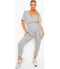 zwangerschap lounge wikkel jumpsuit, grey marl
