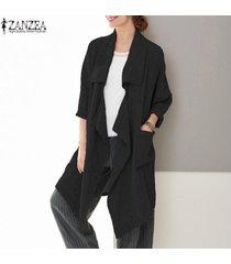 zanzea mujeres spring loose waterfall tunic coat cardigan blazer prendas de abrigo -negro
