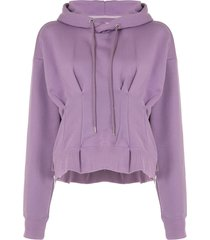 maison mihara yasuhiro waist track logo patch hoodie - purple
