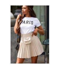sexy hoge taille rok met riem tas beige
