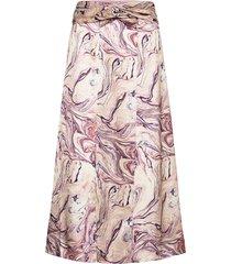 satin midi length skirt with knot detail knälång kjol multi/mönstrad scotch & soda