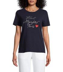 karl lagerfeld paris women's embellished logo t-shirt - marine - size l