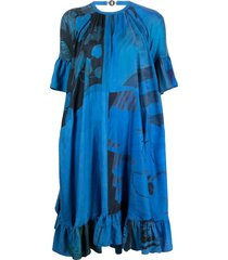marine serre floral flared silk dress - blue