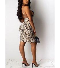 sin respaldo de encaje de leopardo de color caqui diseño con dobladillo de hendidura correa de espagueti vestido