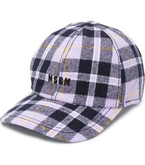 msgm tartan baseball cap - purple