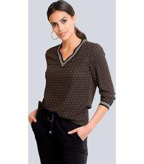 blouse alba moda zwart::cognac