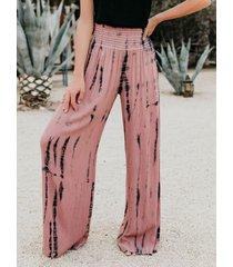 rosa fruncido de pierna ancha tie dye stretch pretina pantalones