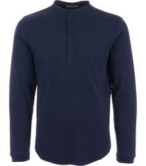 oliver spencer swanfield long sleeve henley t-shirt - elms navy osmk66a-elm01nav