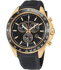 nautica men's analog black silicone strap watch 46 mm
